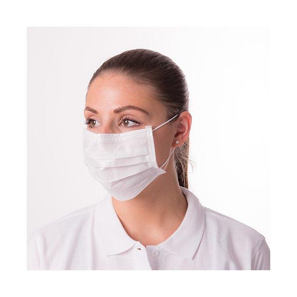 Mundbind med formbar næsebøjle. HVID (FAST LAVPRIS)